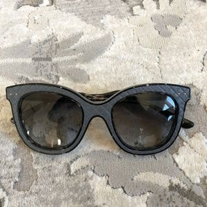 Bottega Veneta Black Leather Cat Eye Sunglasses